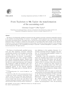 From Taylorism to Ms Taylor: the transformation of the accounting craft