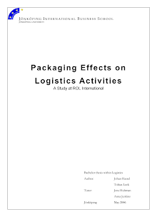 Project Report on Packaging effects on logistics activities