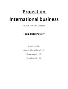 Project Report on International Business - Hotel Industry