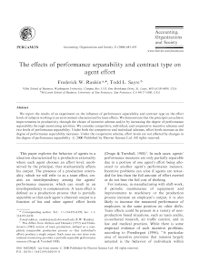 The effect of performance separability and contract type on agent effect