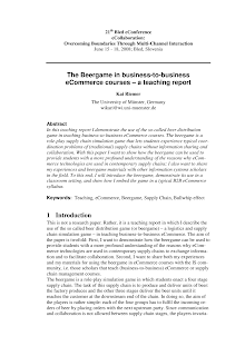 Supply Chain Study on Beergame in business-to-business eCommerce