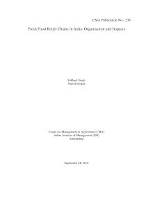 Study on Organisation and Impacts - Fresh Food Retail Chains in India