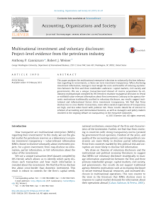 Multinational investment and voluntary disclosure: Project-level evidence from the petrole