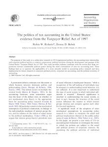 The politics of tax accounting in the United States: evidence from the Taxpayer Relief Act