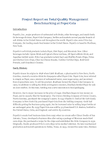 Project Report on Total Quality Management Benchmarking at Pepsi Cola