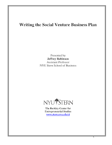 Writing The Social Venture Business Plan Presented By Jeffrey Robinson