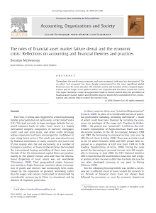 The roles of financial asset market failure denial and the economic crisis: Reflections on
