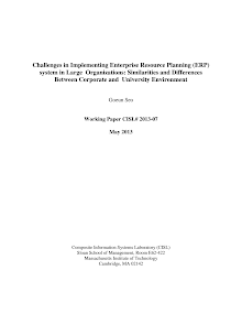 Workingpaper on Implementing Enterprise Resource Planning (ERP) system in Large Organizati