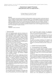 Autonomous Logistic Processes