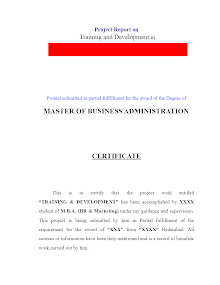 Training & Development MBA HR & Marketing Project