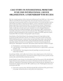 Case Study on International Monetary Fund and International Labour Organization