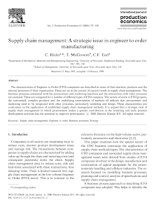 White Paper on Strategic Issue in Engineer to Order Manufacturing - Supply Chain