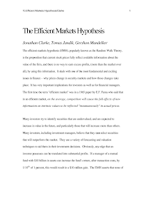 Study on Efficient Markets Hypothesis