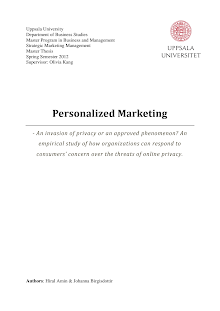 Marketing Project on Personalized Marketing: Invasion of Privacy