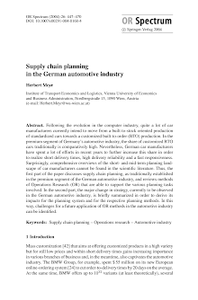 Project Study on Supply Chain Planning in German Automotive Industry