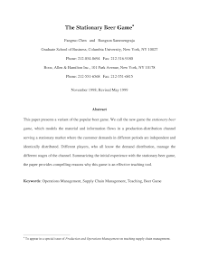 White Paper on Stationary Beer Game