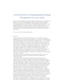 Critical Review on Organizational Change Management its Case Study