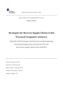 Study on Strategies for Reverse Supply Chains in the Personal Computers