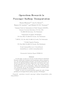 Operations Research in Passenger Railway Transportation
