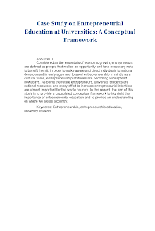Case Study on Entrepreneurial Education at Universities: A Conceptual Framework