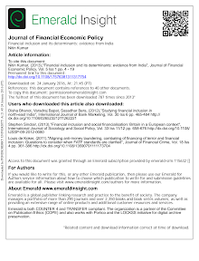 Financial inclusion and its determinants evidence from India