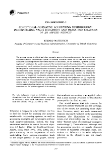 CONDITIONAL NORMATIVE ACCOUNTING METHODOLOGY INCORPORATING VALUE JUDGMENTS AND MEANS