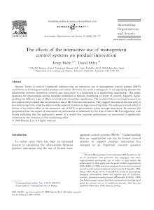 The effects of the interactive use of management control systems on product innovation