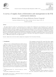 Whitepaper on Supply Chain Collaboration and Management in Construction Industry