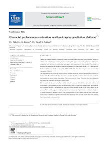 Financial performance evaluation and bankruptcy prediction