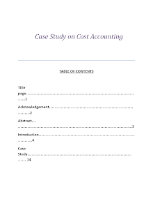 Case Study on Cost Accounting