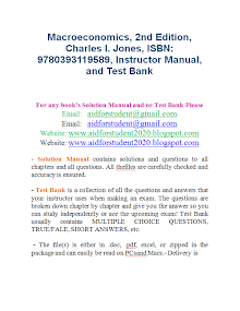 Macroeconomics, 2nd Edition, Charles I. Jones, ISBN: 9780393119589, Instructor Manual, and Test Bank