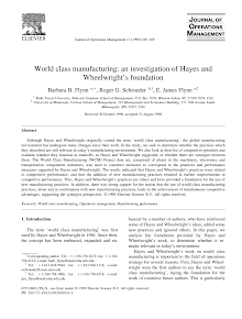 Study on World class manufacturing an investigation of Hayes