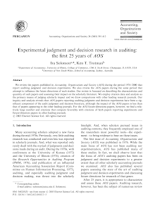 Experimental judgment and decision research in auditing: the first 25 years of AOS