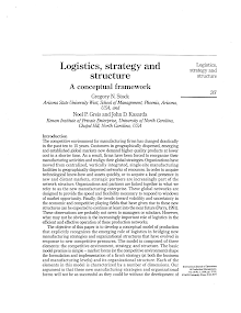 Study on Logistics, Strategy and Structure