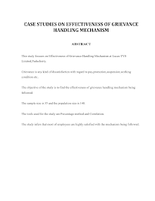 Case Studies on Effectiveness of Grievance Handling Mechanism