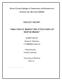 Analysis of Marketing Strategies Of Nestle Maggi
