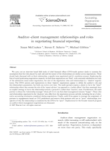 Auditor client management relationships and roles in negotiating financial reporting