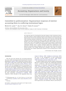 Committed to professionalism: Organizational responses of mid-tier accounting firms to con