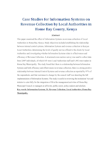 Case Studies for Information Systems on Revenue Collection