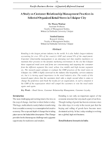Study on  Organised Retail Stores in Udaipur City