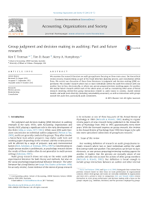 Group judgment and decision making in auditing: Past and future research