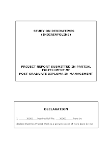 Project Report on India infoline : Derivatives