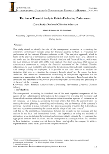 Financial Study on Financial Analysis Ratio - National Chlorine industry