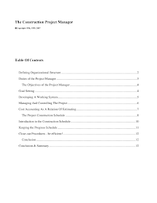 Study Report on Construction Project Manager