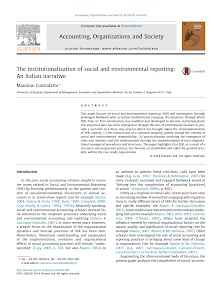The institutionalization of social and environmental reporting: An Italian narrative