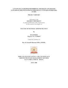 Project Report on Customer Preference and Brand Awareness: Mahindra Pumps