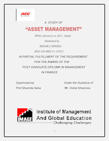 PROJECT REPORT ON ASSET MANAGEMENT OF ACC LIMITED