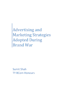 Advertising and Marketing Strategies Adopted During Brand War By Sumit Shah