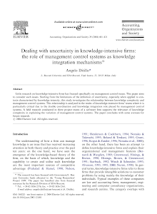 Dealing with uncertainty in knowledge-intensive firms: the role of management control syst