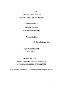 Blackbook project on luxury car segment